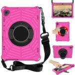 Spider Web Texture Tablet Case Kickstand EVA Cover with Shoulder Strap for Lenovo M10 FHD REL TB-X605FC/TB-X605LC 10.1-inch – Rose