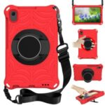 Stylish Spider Web Texture EVA Tablet Case Kickstand Cover Shell with Shoulder Strap for Lenovo Tab M8 (1st Gen) TB-8505/M8 (2nd Gen) TB-8705/M8 (3rd Gen) TB-8506 – Red