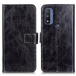 Vintage Style Crazy Horse Texture Wallet Stand PU Leather Case Phone Shell for Motorola G Pure – Black
