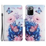 Pattern Printing Leather Phone Case Wallet Stand Cover with Wrist Strap for Xiaomi Redmi Note 10 Pro 5G (China)/Xiaomi Poco X3 GT 5G – Purple Butterfly