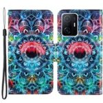 Cross Texture Wallet Stand Design Folio Flip Leather Phone Case Shell with Strap for Xiaomi 11T – Mandala Flower