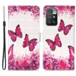 3D Pattern Printing Stand Wallet Design Phone Cover Shell with Strap for Xiaomi Redmi 10/Redmi 10 Prime – Rose Red Butterfly
