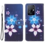 Cross Texture 3D Pattern Printing PU Leather Stand Flip Magnetic Folio Wallet Case for Xiaomi 11T / 11T Pro – Sparkle Flowers
