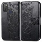 Stand Wallet Design Imprinting Butterfly Flower PU Leather Phone Case Cover for Alcatel 1S (2021) – Black