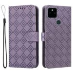 Grid Imprint PU Leather Flip Protective Phone Case Wallet Cover with Standing Function for Google Pixel 5a 5G – Purple